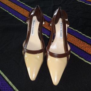 Manolo Blahnik two tone slingback kitten heels